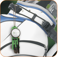 Green Pro hanging from golf bag